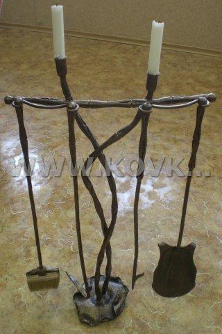 От Ковка КД кованый каминный набор, 4 предмета и подсвечник