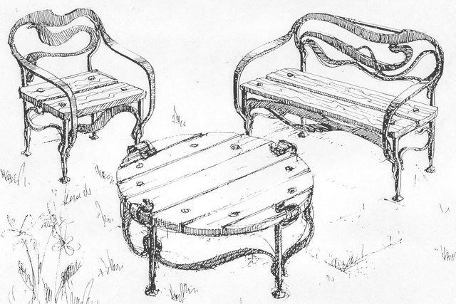 От Ковка КД эскизы кованой мебели: стул, стол, скамейка
