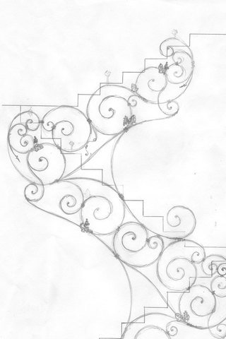 От Ковка КД эскиз кованой лестницы