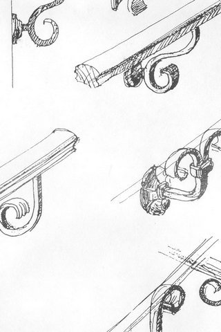 От Ковка КД эскиз элементов держателей кованых перил для лестницы