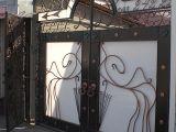 Ворота кованые с кованой рекламной вывеской