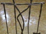 Кованый каминный набор, 4 предмета и подсвечник