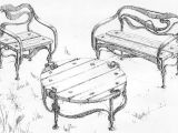 эскизы кованой мебели: стул, стол, скамейка