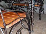 Комплект садовой мебели. Кованый стол + две кованые лавочки.